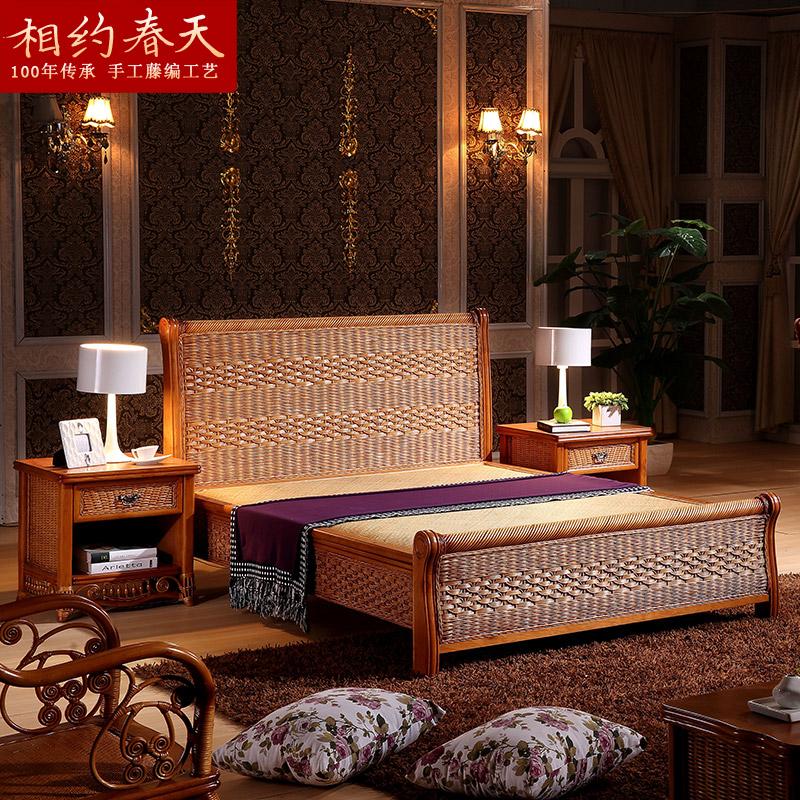 Фаза примерно весна к юго-востоку азия виноградная лоза кровать виноградная лоза двуспальная кровать деревянные кровати 1.8 королева ротанг кровать виноградная лоза искусство кровать