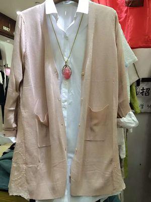 2016春夏新款潮女式薄开衫外套蕾丝拼接针织衫毛衣