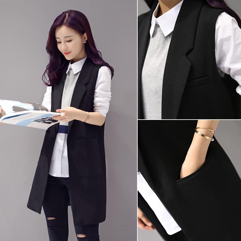 Костюм жилет женщина 2017 весенний и осенний сбор. новый облегающий, южнокорейская версия безрукавный жилет жилет длина жилет пальто лето