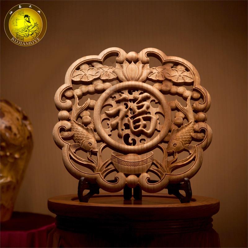 東陽木雕掛件客廳木雕擺件雕刻工藝品仿古香樟木圓形福字掛飾掛件