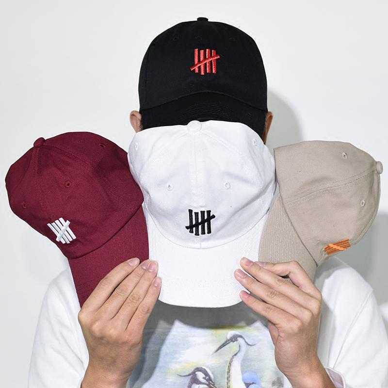 欧美高街日系潮牌UNDFTD刺绣男女情侣五道杠弯沿鸭舌棒球帽子Cap限4000张券