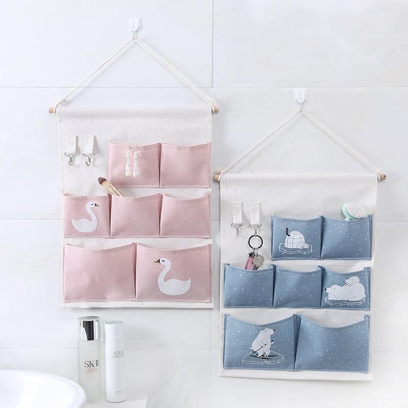 布艺储物袋收纳袋墙挂式可爱大容量家用宿舍门后杂物收纳挂袋挂兜