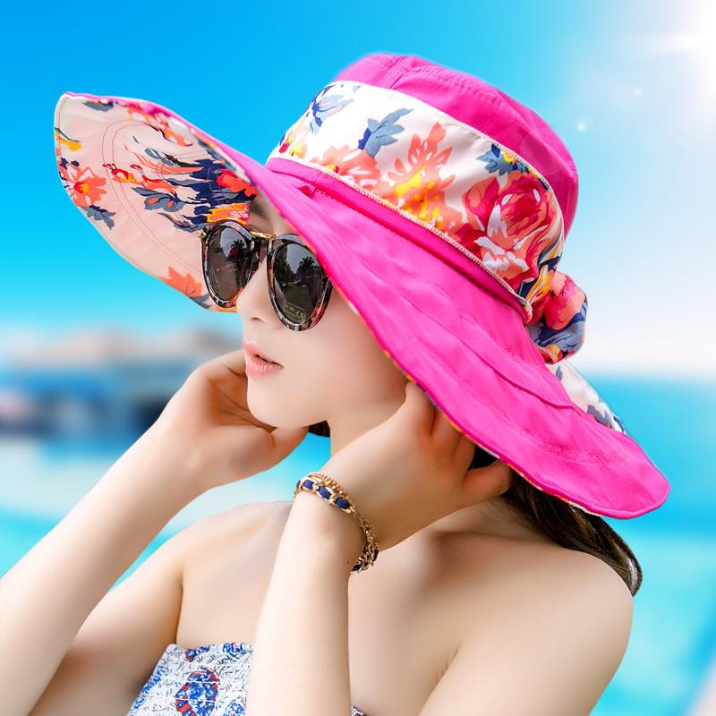 遮陽帽子女夏天戶外防曬帽大沿太陽帽防紫外線女士出遊折疊沙灘帽