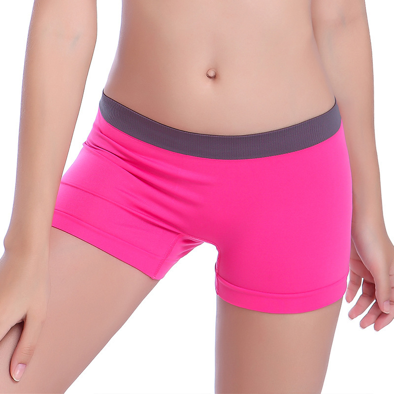 Seamless medium low waist elastic womens boxer underwear traceless quick drying yoga exercise safety shorts anti light primer