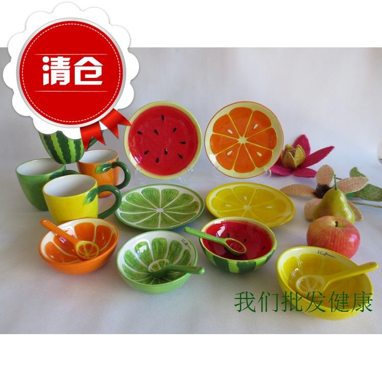 Арбуз чаши чаши керамика для экспорта фруктов миску фруктов чаша клещей посуда творческие дома м вакансии