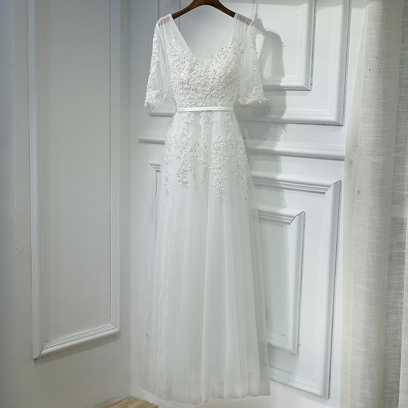 2018新款宴会晚礼服长款时尚显瘦v领白色主持人礼服优雅晚装中袖