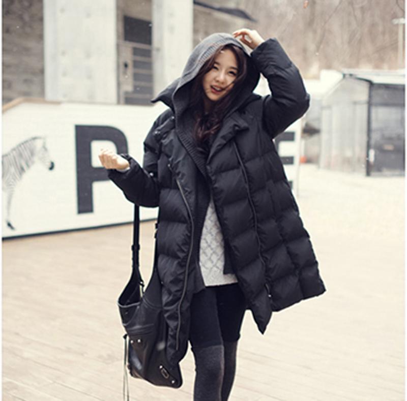 всплеск 2014 новой Европы и подлинный Корейский свободные теплый мягкий вниз пальто женщин долго вниз куртка XL