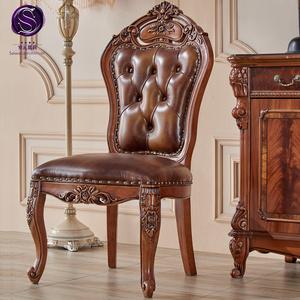 美式餐椅新古典餐椅欧式餐椅带扶手实木真皮家具美式乡村复古椅子