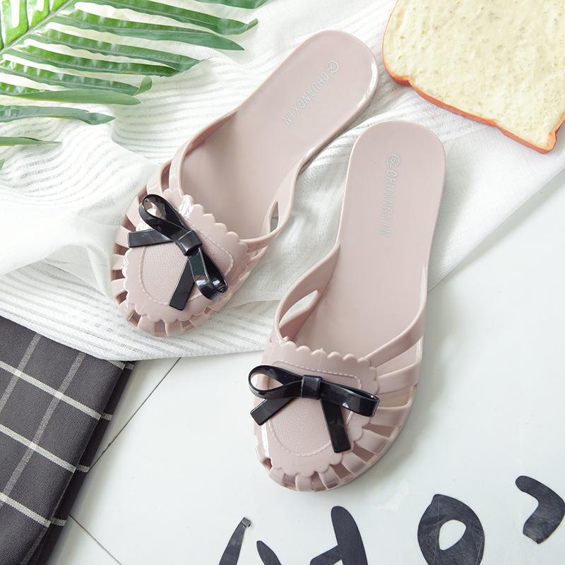 2017春夏新款女鞋凉鞋平跟塑料果冻鞋 女沙滩拖鞋女潮包头鞋