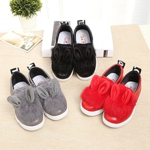 The new 2015 autumn/winter loafers girls shoes wholesale real rabbit fur parents' shoes low elastic cotton shoes help