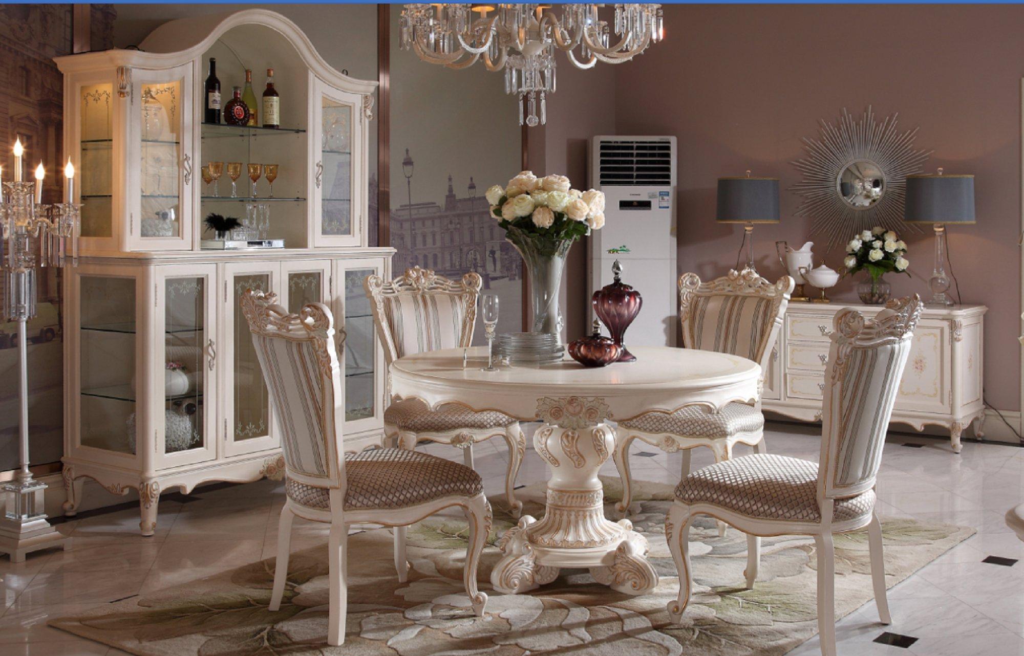 Континентальный круглый обеденный стол твердая деревянная обедая столы и стулья сочетание новый классическая белый французский прямоугольник магазин мебель сделанный на заказ
