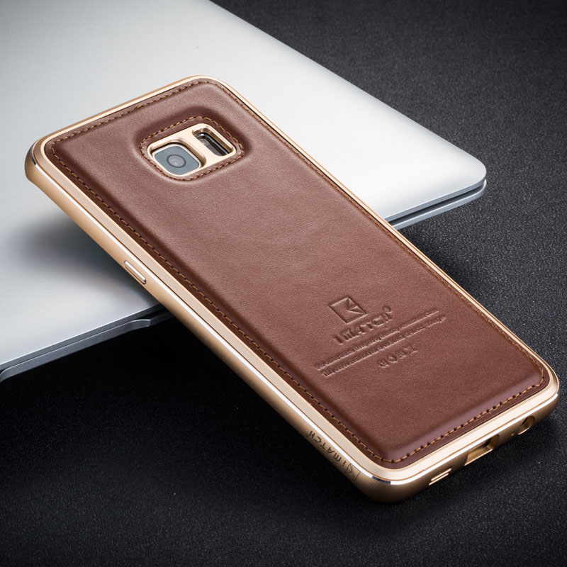 iMatch Luxury Aluminum Metal Bumper Premium Genuine Leather Back Cover Case for Samsung Galaxy S6 Edge Plus G9280