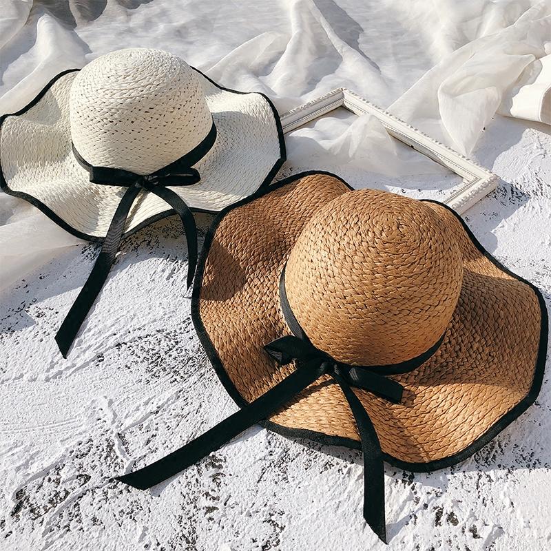 帽子女夏天韩版百搭遮阳草帽沙滩帽夏海边出游大沿防晒遮脸太阳帽