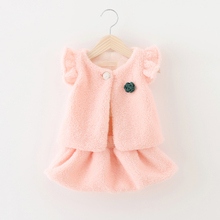 Children's wear suit qiu dong han edition version of its 2015 thickening of the girls baby clothes the 2-3-4 - year - old two-piece infants 0 to 6 months