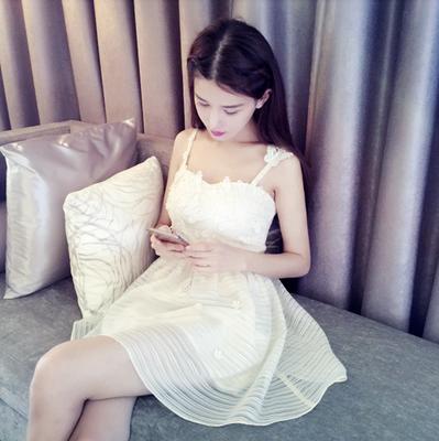 白蕾丝夏季连衣裙女2017新款高腰学生韩版时尚可爱气质淑女小清新