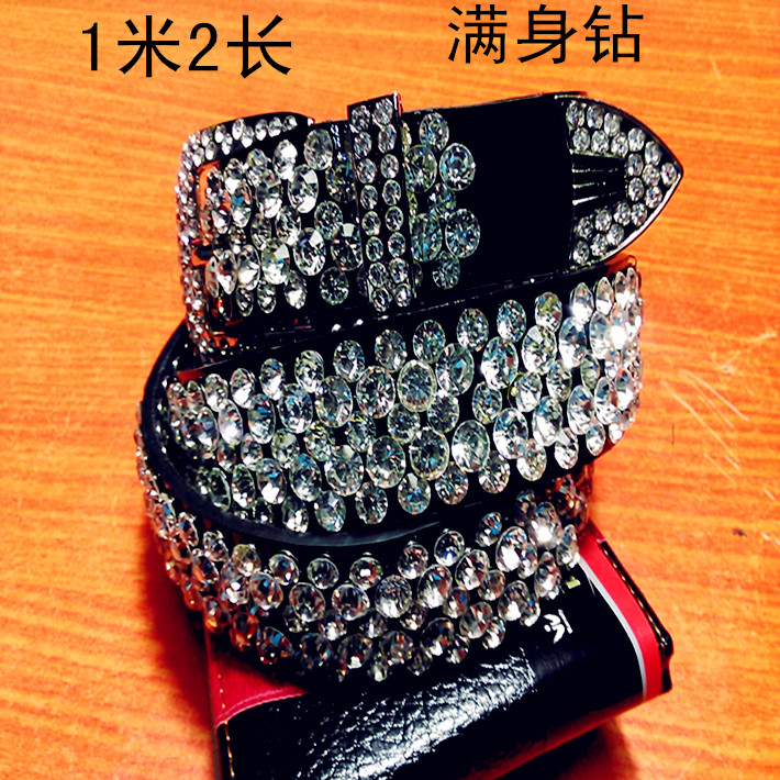 Womens leather inlaid diamond belt pin buckle belt diamond belt lengthened leather trousers with fashionable decoration and wide skirt