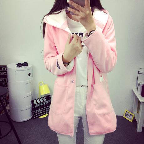 Сладкий тонкий дамы ветровка осень осень досуг корейских студентов в осень/зима длинные тонкие шерстяные пальто женщин
