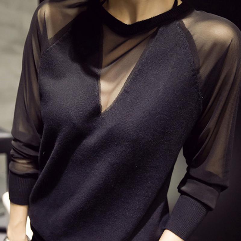 Европейская подпружиненный плюс размер дамы одежда Одежда loose тонкий сексуальный сетки рубашки длинные рукава просиданию рубашка волна