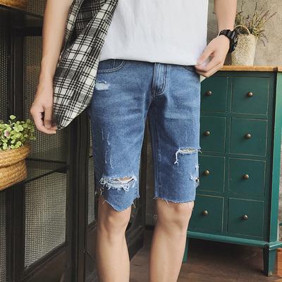不规则设计裤脚毛边浅蓝破洞直筒宽松牛仔短裤N243P45