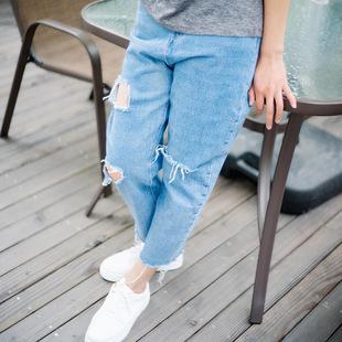 沖量促銷2019春秋新款韓版破洞牛仔褲高腰直筒九分顯瘦休閑短裙