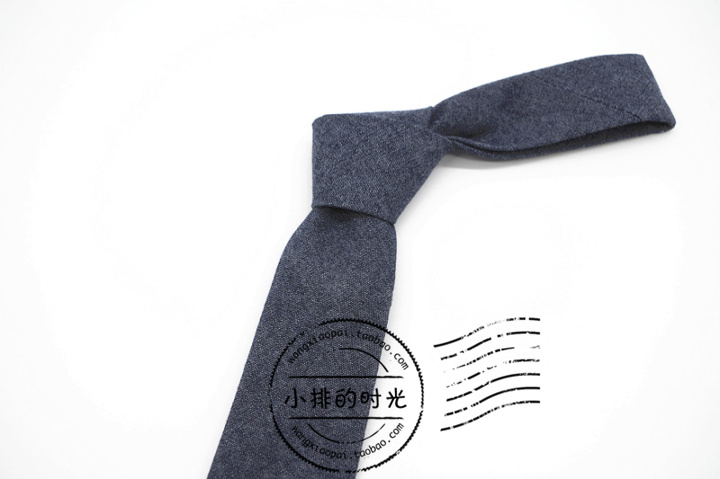 Time of small row denim solid color characteristic tie 6.5cm narrow mens leisure Vintage Vintage
