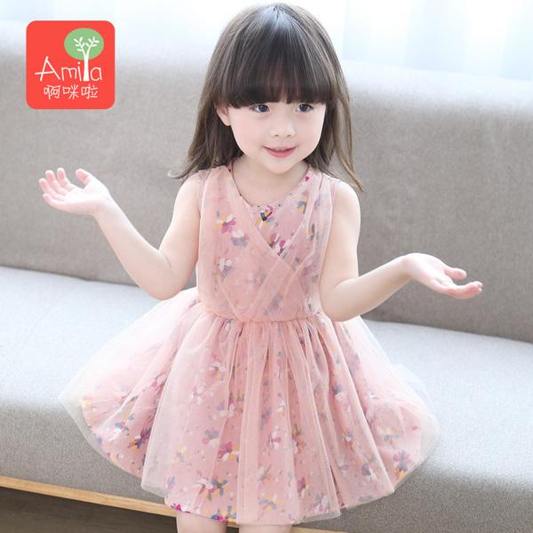 女童连衣裙夏装新款宝宝吊带裙小童公主纱裙雪纺童装背心裙子