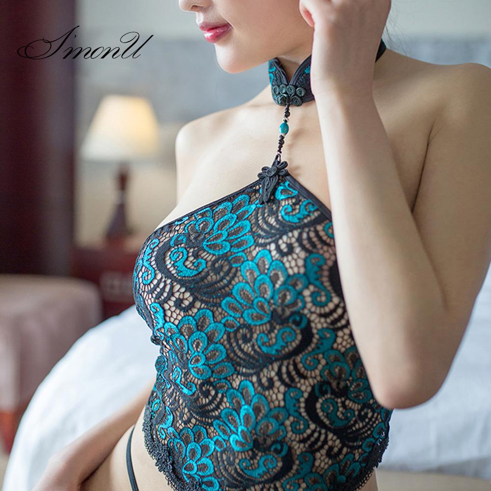 爱忧古典性感女士肚兜成人套装蕾丝情趣内衣旗袍睡衣制服诱惑