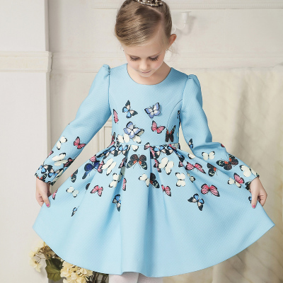 Children's clothing han edition of new fund of 2015 autumn winters girls long-sleeved dress printed big boy children butterfly princess dress in Europe and America