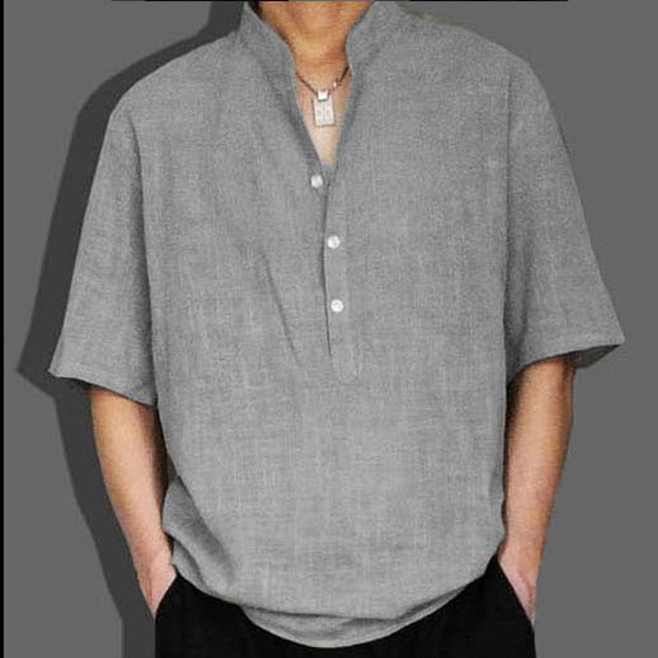 Thin cotton linen summer clothes large Chinese mens Linen extra large stand collar T-shirt short sleeve loose linen clothes
