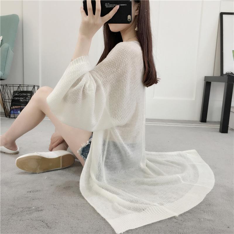 外套女2018新款女装披肩韩版宽松中长款针织衫开衫薄款夏季防晒衣