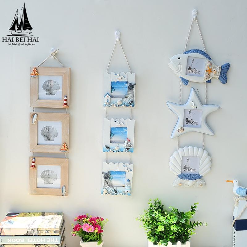 實木地中海風格連體三連掛框相框 掛牆相框畫框 兒童照片框