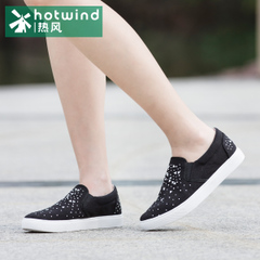Hot women's shoes, rhinestone shoes wave Korean College wind pedal Lok Fu with flat shoes 61H5725