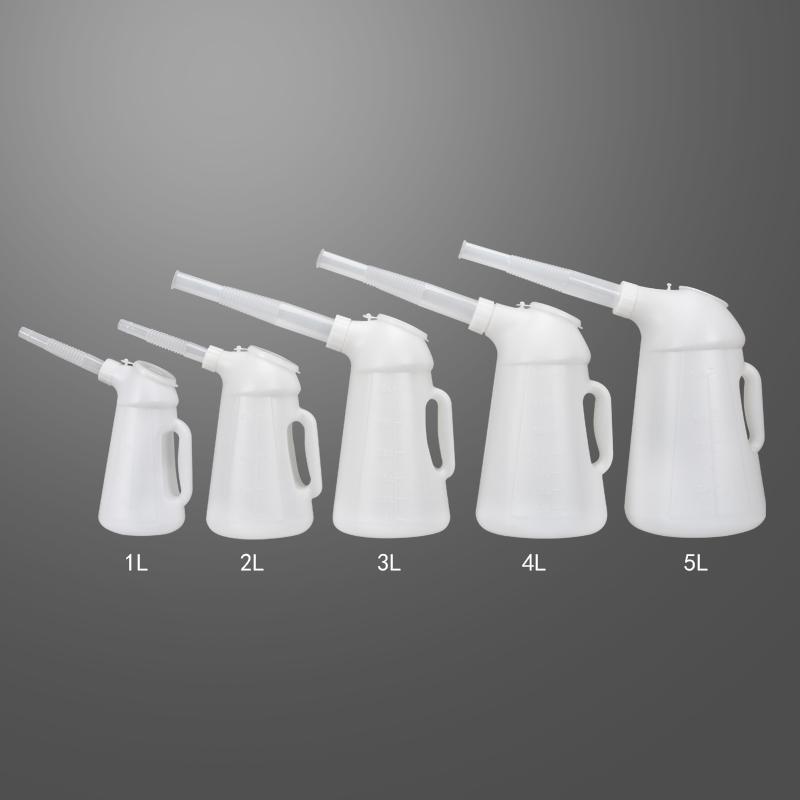 包邮塑料加油壶塑料油壶带刻度车船用油壶4S点用机油壶容量1L-5L