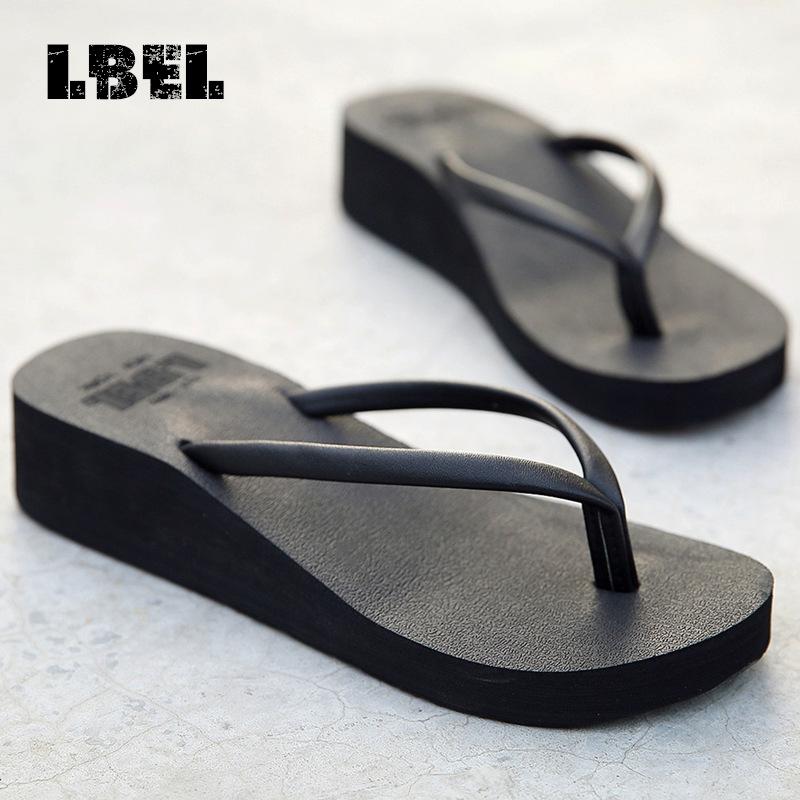 女夏海边坡跟厚底外穿夹脚沙滩鞋