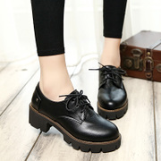 Spring of 2016 new chunky heels platform platform shoes retro high heels women shoes lace shoes of England tidal