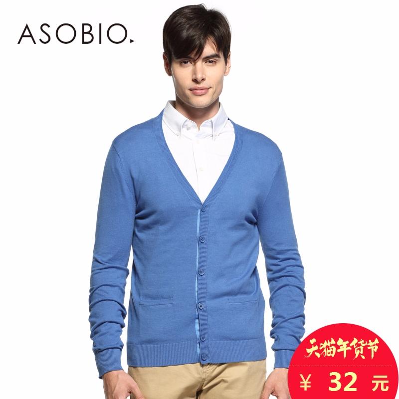 ASOBIO 襯衫領男裝 正品青年男士 長袖毛針織衫開衫