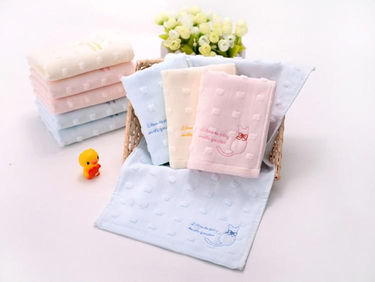 外贸日本原单纯棉卡通猫背影童巾全棉可爱儿童柔软面巾洗脸小毛巾