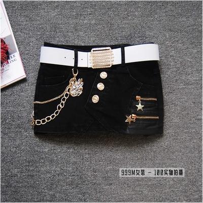 夏季新款女装时尚牛仔短裙裤女拉链挂饰修身包臂半身裙拼皮靴裤子