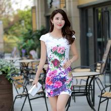 旗袍裙夏装短款短袖复古2017新款连衣裙改良修身裙