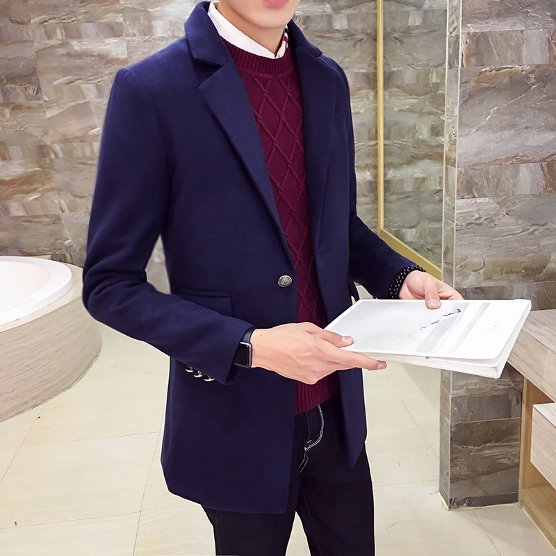 男士英倫青年呢子呢大衣