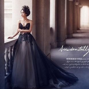 婚紗禮服2020新款影樓主題服裝情侶寫真攝影服飾內外景蕾絲黑色
