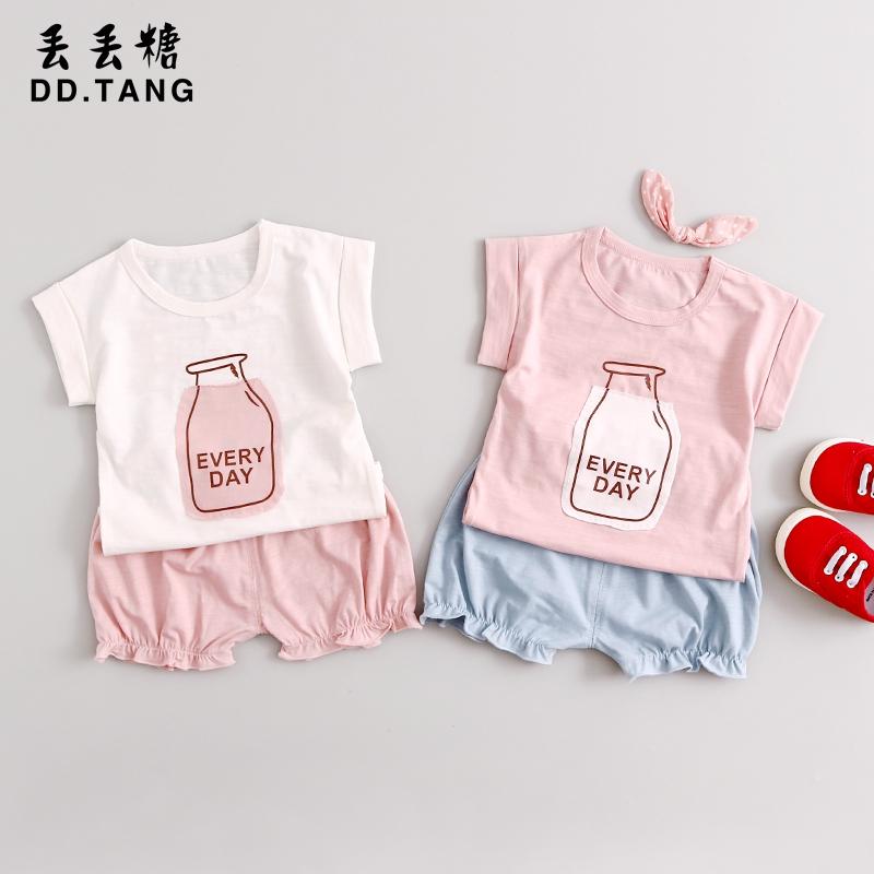 男寶寶  0~1~2~3歲夏裝女童套裝卡通短袖短褲嬰兒衣服