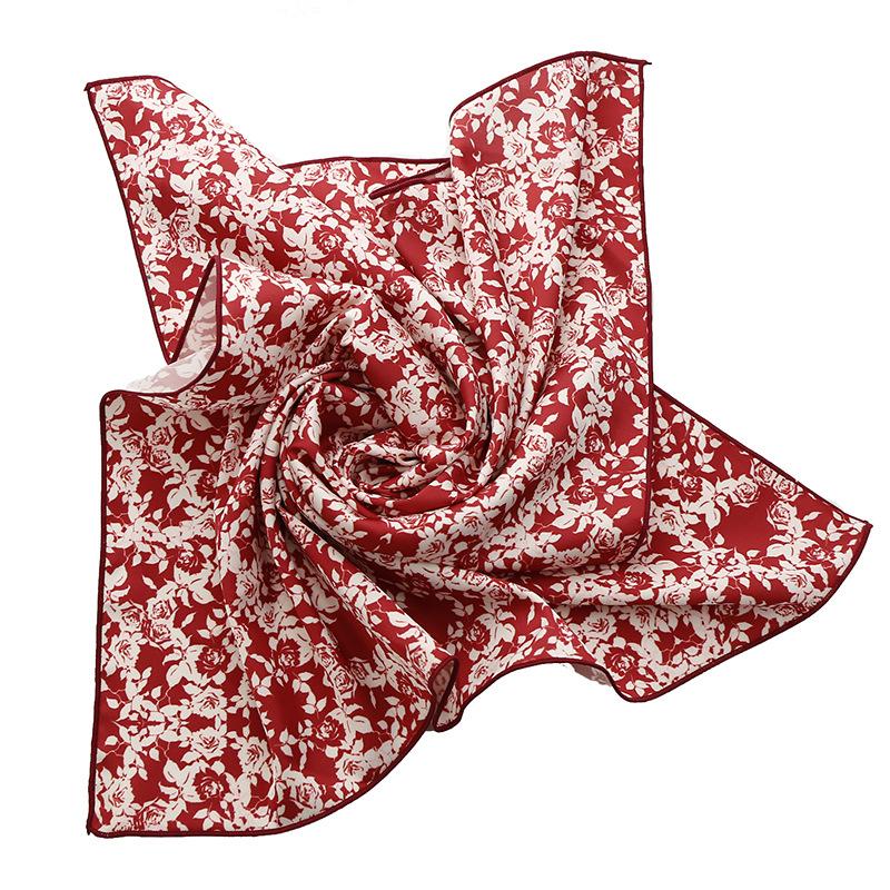 Flora森女复古俏皮红色系韩版韩式丝巾短围巾韩版小方巾领巾发带