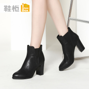 Shoebox shoe high heel shoes boots pointed short sleeve chunky heels Chelsea boots in Europe and America 1115505205