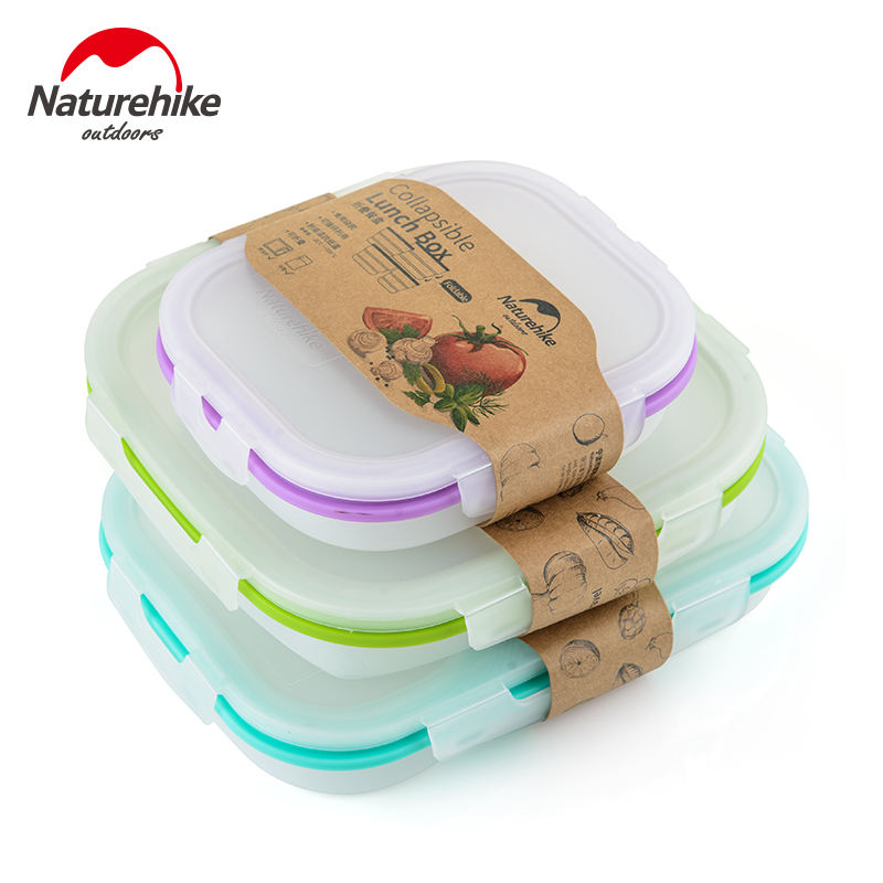 NH 可折疊矽膠餐盒 便攜密封保鮮盒 食品級健康易清洗方形午餐盒