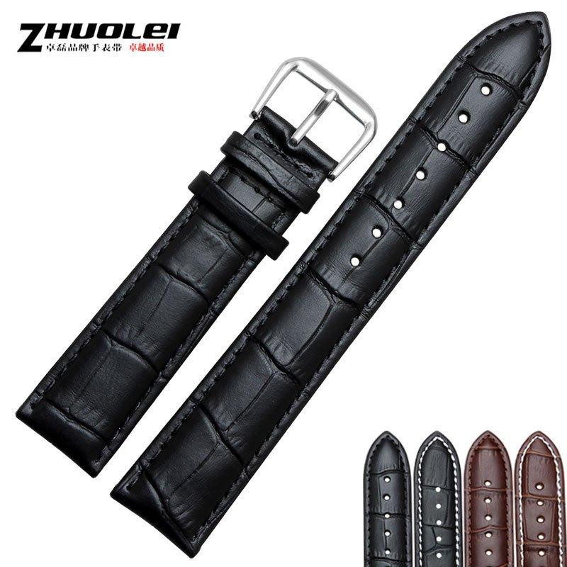 卓磊表鏈 防汗鱷魚紋手表帶 真皮表帶18^|19^|20^|21^|22mm 黑^|棕色男