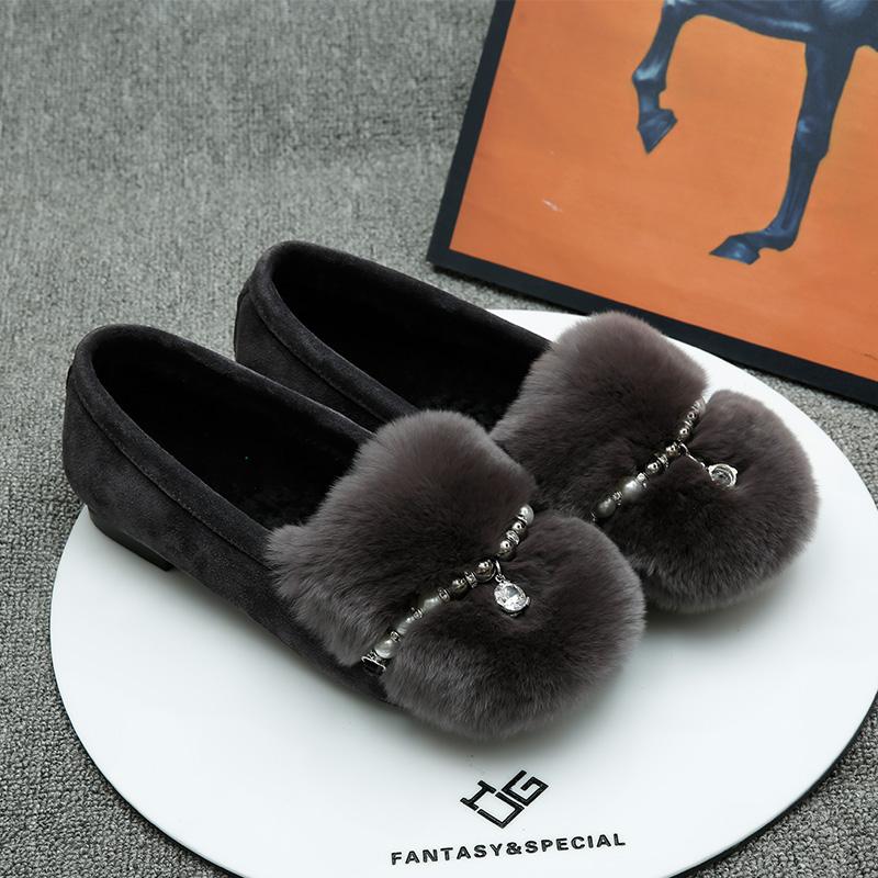 igu女鞋棉瓢加绒毛毛鞋冬一脚蹬豆豆鞋欧美浅口平底懒人外穿单鞋