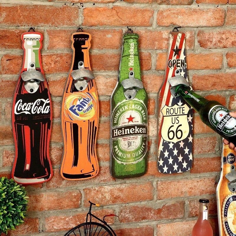 複古酒吧牆麵裝飾品 啤酒開瓶器美式牆上起子掛件家居室內壁飾
