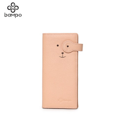 Banpo female new suede leather wallet leather multi card bills long cartoon buckle money clip card holder