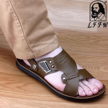 Summer new men sandals waterproof male sandals leisure fashion leather slippers soft bottom male is cool